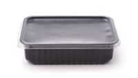 Black disposable plastic food takeaway container