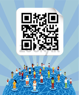 Global social media network around the world with QR code