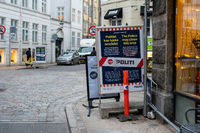 Police Warning Sign for Covid 19 in Copenhagen