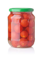Front view of canned cherry tomatoes in glass jar