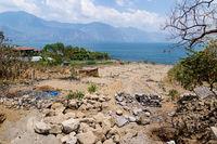 Construction of an agricultural field along the lake Atitlan, San Pedro la Laguna, Guatemala
