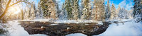 Panorama of Beautiful winter river and forest