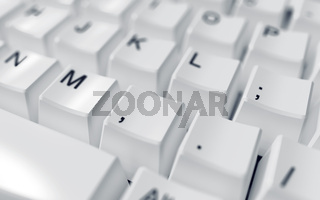 modern computer keyboard with white buttons