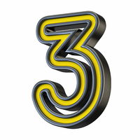Yellow black outlined font Number 3 THREE 3D