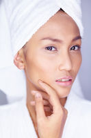 Beautiful woman facial skin care.  My skin is protected.