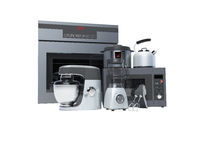 Kitchen appliances built into the group electric oven microwave blender electric kettle 3d rendering on white background no shadow