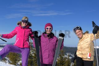 winter season fun with group of girls