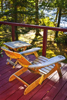 Chair on cottage deck