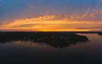 sunset shot of the Wannsee in Berlin with sailing boats