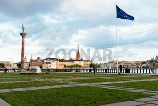 Cityscape of Stockholm from City Hall with European flag