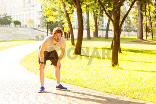 Pause in running. man is resting