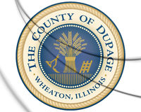 3D Seal of DuPage county (Illinois state), USA. 3D Illustration.