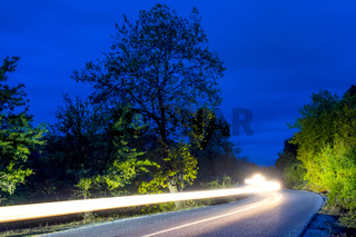 Night Road and Headlight Trails
