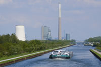 Transport ship on the Datteln-Hamm-Canal in front of Power station, Bergkamen, Ruhr area