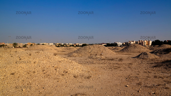 exterior view to Dilmun mounds in Bahrain