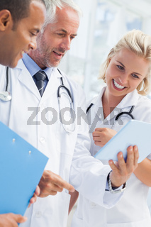 Doctor showing his tablet