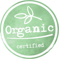 round green watercolor ORGANIC label or logo