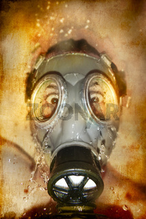 Man in gas mask with water reflection in the eyes over artistic background