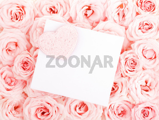 Beautiful roses with gift card  heart