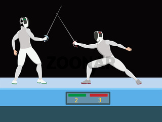 Fencers with a saber on competition or training, vector illustration