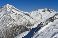 Snow-covered peaks in the Swiss Alps near Saas-Fee, Valais, Switzerland