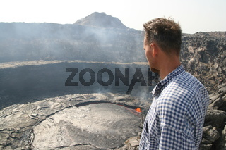Me observing the Erta Ale volcano