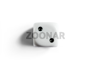 Number 2 on clean dice. Top view. White background.