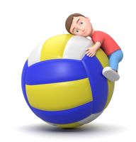 Love Volleyball. 3D Cartoon Character Illustration