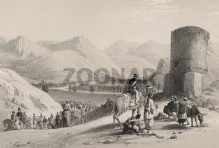 Maīdān Valley, Afghanistan, Wardak Province, First Anglo-Afghan War, sketch by James Atkinson, 1839