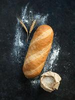 British White Bloomer or Baton loaf bread