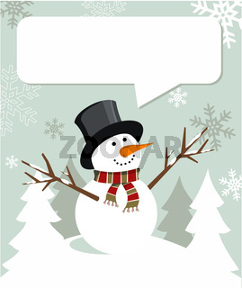 Snowman Christmas with dialogue balloon
