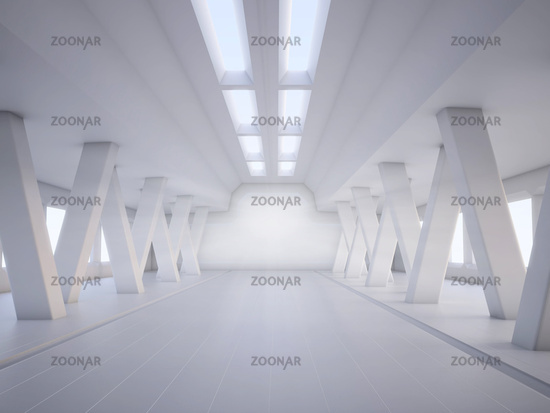 abstract architecture white interior