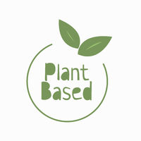 Plant based flat style hadn't drawn icon. Vegan food. Ecology friendly food. Logo in line style. Eco label