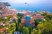 Town of Opatija cathedral and waterfront aerial view