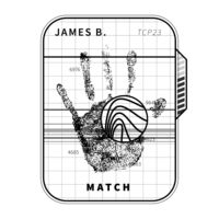 Fingerprint scan with detailed human palm, simple black concept on white