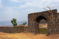 Padmavati lake gate on the top of Rajgad fort, Pune, Maharashtra, India.