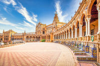 Spain Square in Seville, Spain. A great example of Iberian Renaissance architecture during a summer day with blue sky