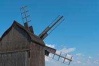 Wooden windmill rear view.