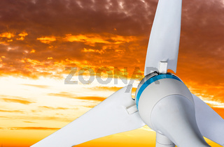 Wind turbine against sky