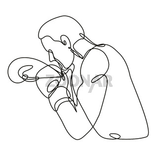 Boxer Jabbing Boxing Side View Continuous Line Drawing