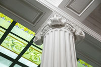 Close-up shot of a line of Greek-style columns