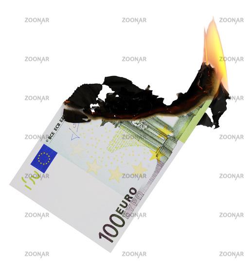 Burning 100 Euro note