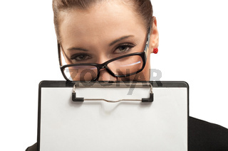 Business woman with clipboard isolated on white