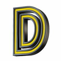 Yellow black outlined font Letter D 3D