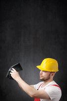 Portrait of a poor construction worker
