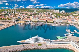 City of Rijeka waterfront and luxury yacht harbor aerial view