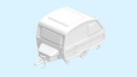 3D rendering of a caravan computer model mock up isolated on a empty background