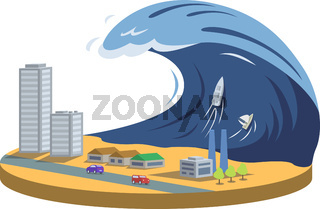 Typhoon cartoon vector illustration. Tsunami. High wave covering city. Tropical cyclone, storm. Catastrophe, cataclysm, calamity. Destructive phenomenon. Flat color natural disaster isolated on white