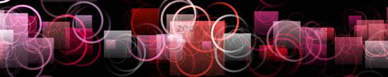 Fantastic circle and square object panorama design illustration