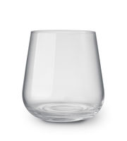 Front view of empty stemless glass tumbler